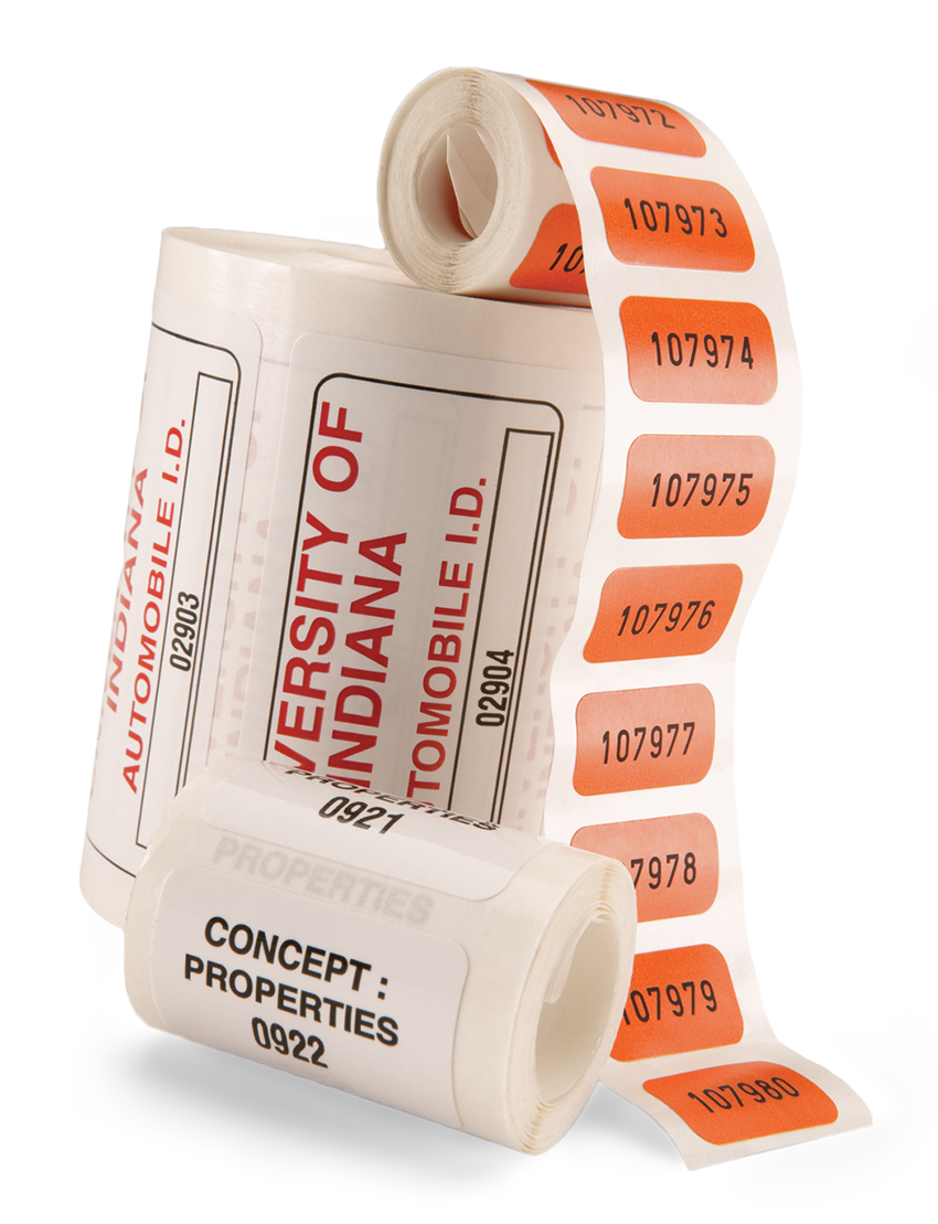 Specialty labels and stickers. Double sided, tamper evident, consecutive numbering and bar codes